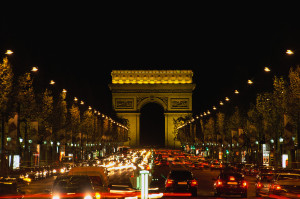 Night time on the Champs-Elysee in Paris