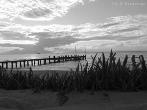 A Cozumel pier in black and white monochrome.